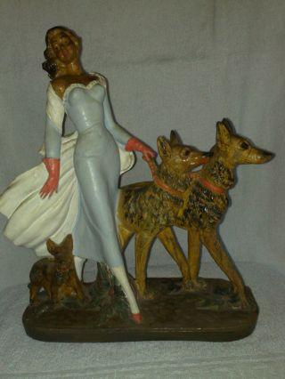 Porzellan Figur - Frau Mit Zwei Hunden - - - A.  Santini. Bild