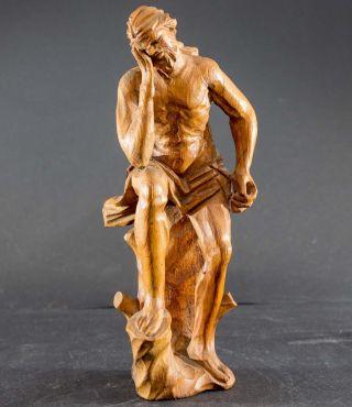 Schmerzens - Jesus,  Leidender Christus,  Antike Schnitzerei V.  Bauernaltar 18,  5 Cm Bild