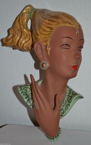 Seltene Thomasch Keramik Wien Wandmaske Maske Dame 1956/ Figur Goldscheider Bild