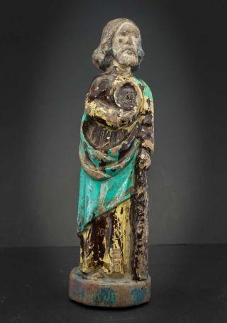 Antike Heiligenfigur,  Jonas,  Jesus,  Prophet Oder Jakobus? Polychrom Gefasst Bild