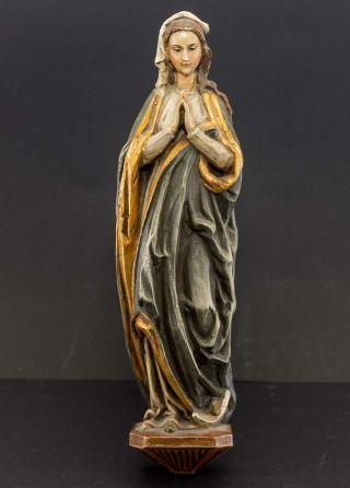 Holz - Madonna Farbig Handbemalt,  Krakeliert.  Hl.  Gottesmutter Maria,  Altarfigur Bild