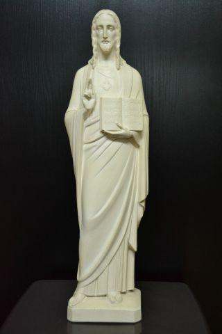 Hl.  Herz - Jesus Statue Mit Buch Von Maria - Laach - Beuron Ca.  1920 - Jugendstil Bild