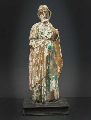 Interessante Heiligenfigur Jesus Oder Evangelist Auf Buch,  Holz Spät - Barock Bild