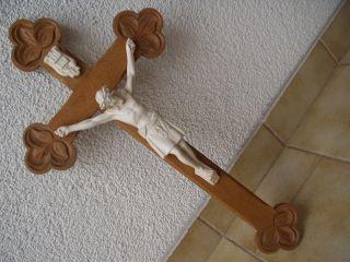 Antikes Originales Wunderschönes Geschnitztes Holzkreuz Mit Jesus Aus Stuck Bild