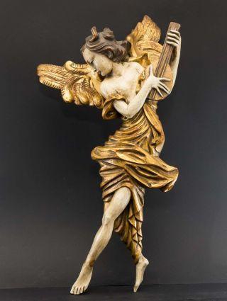 Riesiger Anmutiger Weiblicher Holz - Engel,  Polychrom Gefasst U.  Vergoldet,  58 Cm Bild