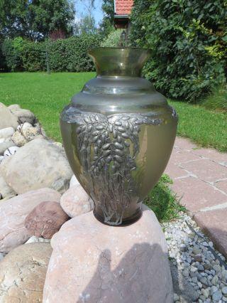 Große Vase Jugendstil Glas Mit Floralen Metallaplikationen Lötz Um 1900 Bild