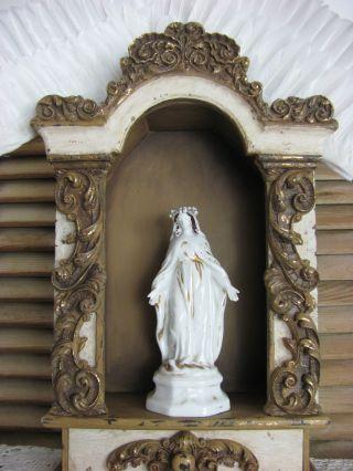 Frankreich Antike Heiligenfigur Maria French Shabby Weiß Porzellan 1900 Figur Bild