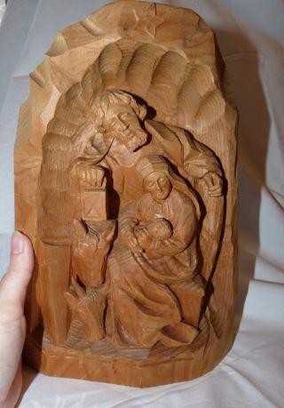 Schöner,  Großer Krippenblock,  Krippe Aus Holz,  Josef,  Maria,  Jesuskind Geschnitzt Bild