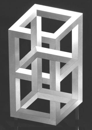 Op Art,  Objekt,  Konkrete Kunst,  Edelstahl,  Acrylglas,  Handsigniert,  H.  Heinecke,  D16 Bild