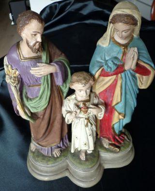 Antike Heiligenfigur - Heilige Familie Stuck Gips Bild