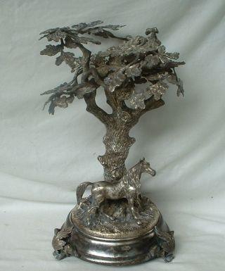 Skulptur: Pferd Unter Einem Eichenbaum Und Zierteller Mit Marabu? Etc.  - Wmf ?? Bild