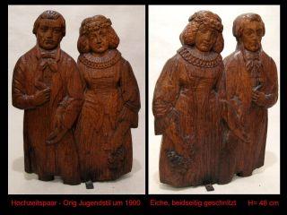 Orig Alt Hochzeit Ehe Paar - Große Jugendstil Figur Mann Frau Um 1900 Höhe 48 Cm Bild