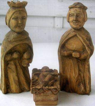 3 Alte Krippenfiguren Konvolut Heilige Familie Geschnitzt Alpenregion Tirol 1850 Bild