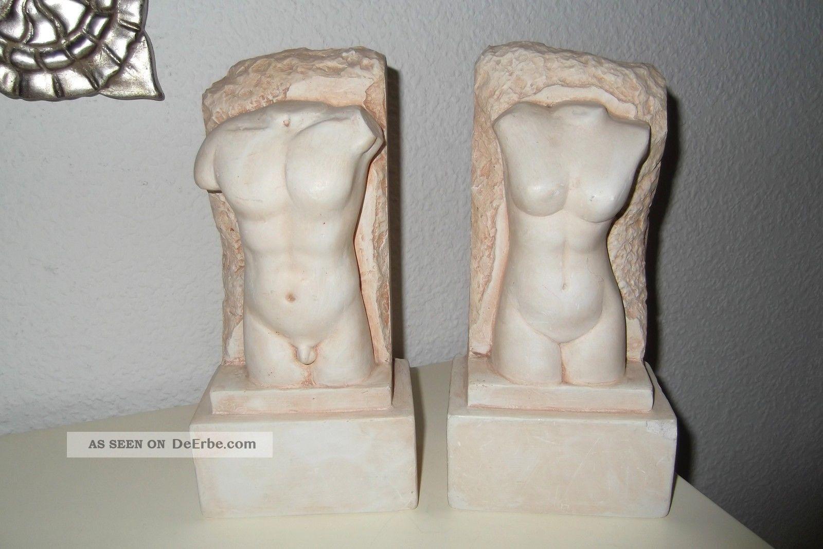 Stuckgips Gips Torso Skulptur Buste Mann Frau Wunderschon Gearbeitet 3300gramm
