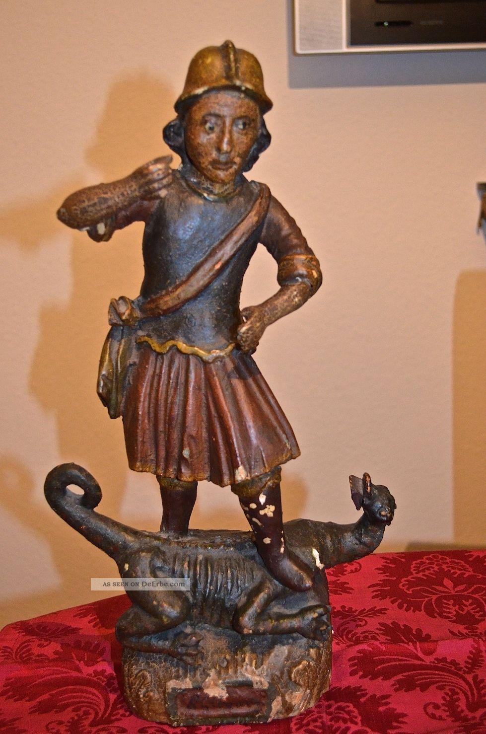 Antiquitäten & Kunst Holz Skulptur Heiliger Georg Metallobjekte