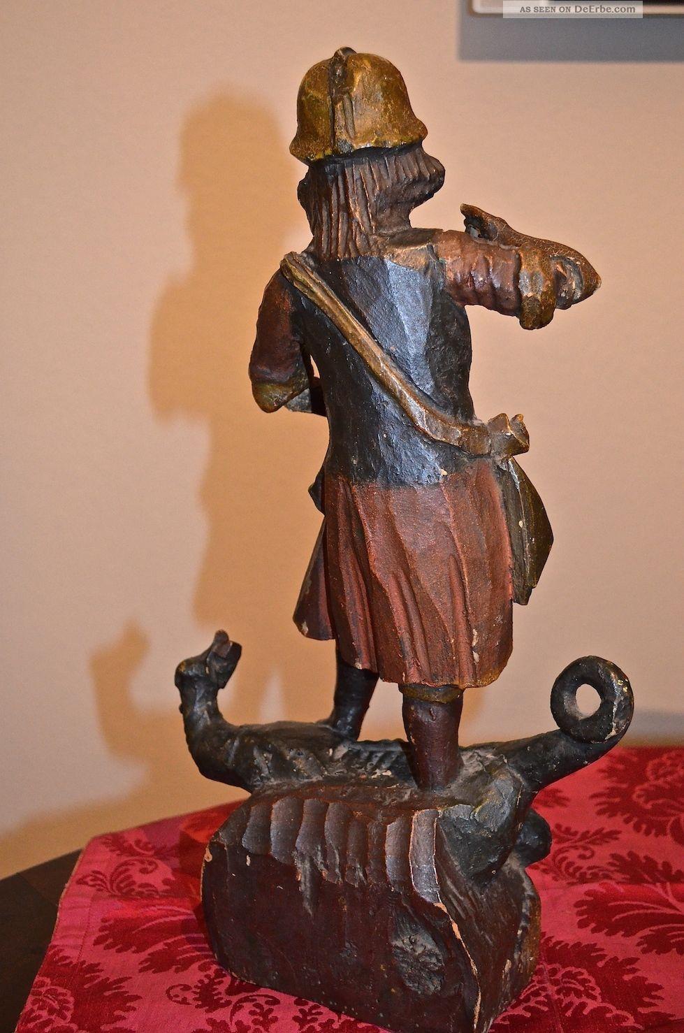Metallobjekte Holz Skulptur Heiliger Georg Bronze