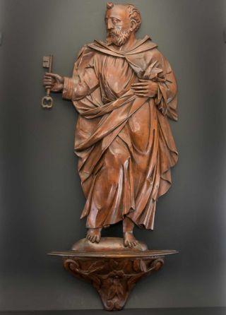 Antike Holz - Figur Hl.  Petrus Mit Schlüssel Auf Geschnitztem Sockel,  88cm Riesig Bild