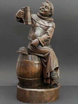 Große Massive Holzfigur Kellerei Meister,  Weinkeller,  Weinprobe Im Klosterkeller Bild