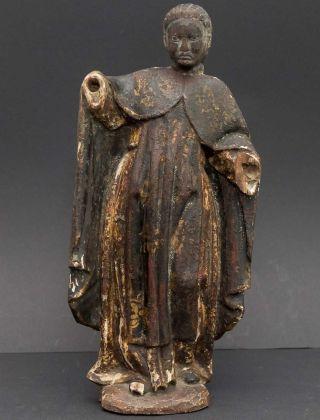 Antike,  Spätbarocke Holzfigur Heiligenfigur,  Altar - /tempel - Figur Originalfassung Bild