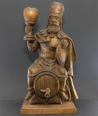 König Gambrinus Auf Bierfass,  Erfinder Bierbrauerei,  Antike Holz - Skulptur 54 Cm Bild