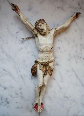 Jesus / Kruzifix / Corpus - 18/19.  Jahrhundert - Holz Geschnitzt (3381) Bild