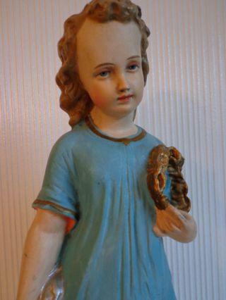 Jesusknabe Jesuskind - Seltene Antike Gipsfigur Heiligenfigur Nazarenerstil Bild