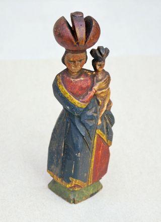 Böhmische Madonna - Pribram 19.  Jahrhundert - Holz Geschnitzt (3585) Bild