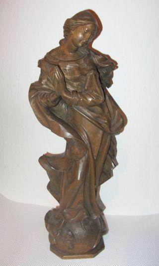 Orig.  Holzschnitzerei Holzfigur 49cm Madonna Maria Skulptur Engelfigur Bayern Bild