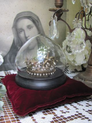 French Shabby Chic Krone Glas Dom Jesulein Crown Couronne Reliquie Exvotomilagos Bild