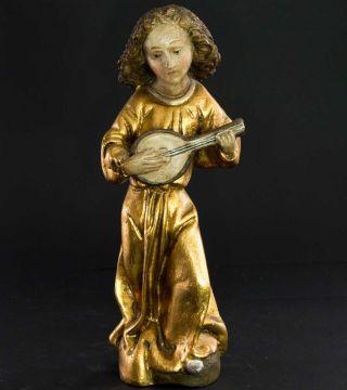 Handgefasster Engel Im Goldenen Gewand Mit Laute,  26 Cm Groß,  1930 Bild