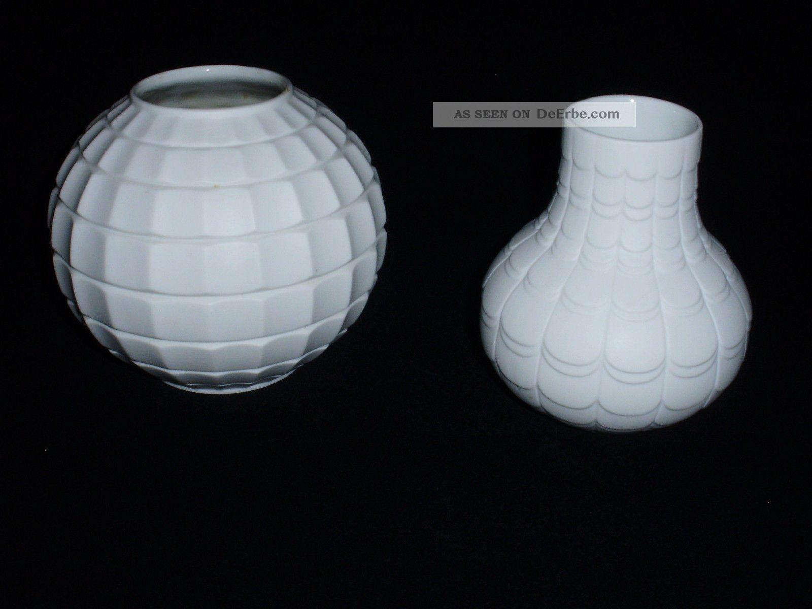 2 vasen wei op art biskuit scherzer porzellan 60 70er jahre. Black Bedroom Furniture Sets. Home Design Ideas