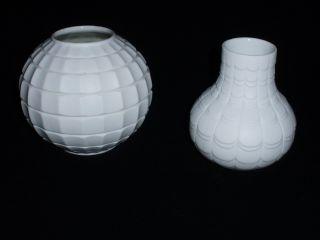 2 Vasen Weiß Op Art Biskuit Scherzer Porzellan 60 - 70er Jahre Bild