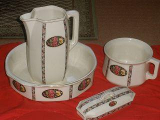 Waschset Waschgarnitur Lavoir Waschschüssel Waschkrug Keramik Jugenstil Um 1900 Bild