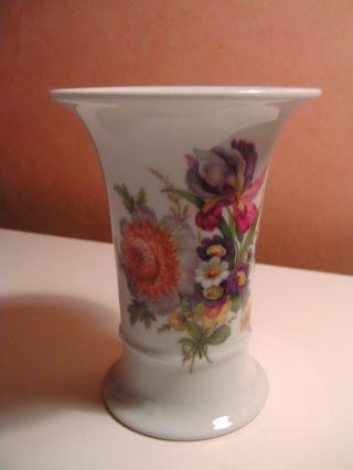 Bemalte Vase Heinrich Porzellan Um 1950 Gemarkt 2064 Florales Dekor Bild