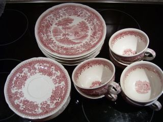 21 Teile Villeroy Boch Burgenland Rot Kaffeegeschirr Teller Kuchenteller Tassen Bild