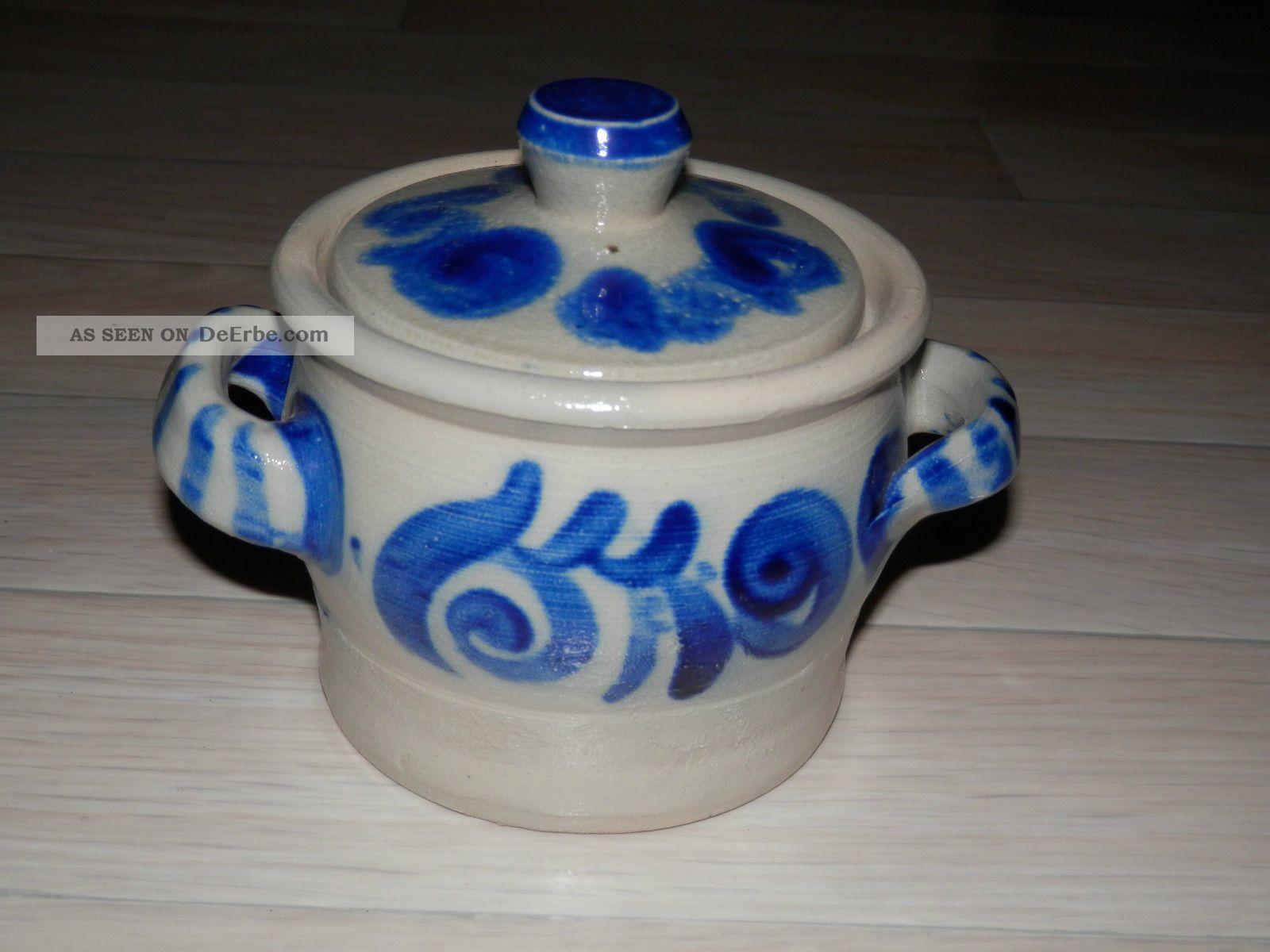 Steingut Keramik keramik schmalztopf mit deckel steingut grau blau