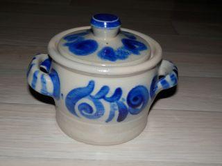 Keramik - Schmalztopf Mit Deckel - Steingut (grau - Blau) Bild