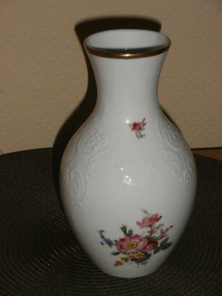 Vase Von Gerold Porzellan Bavaria Germany Weiß Mit Blumen (bodenstanze 8029) Bild