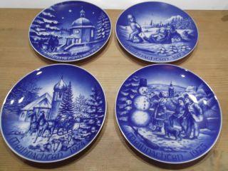 4 Stück Sammel Weihnachtsteller Von Bareuther Waldsassen Bavaria 1970 - 1975 Bild