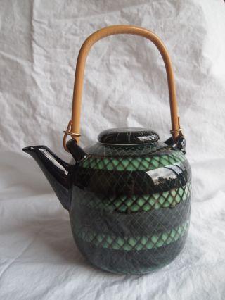 Hb 1115a Grün Gemusterte Teekanne Porzellan Asiatisch Bild