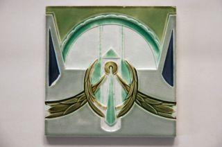 Jugendstil Fliese Kachel,  Art Nouveau Tile,  Tegel,  Mügeln,  Feston Girlande Kranz Bild