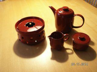 Melitta Rot Ceracron - Kernstück Kaffeekanne - Stövchen - Milchkännchen - Zuckerdose Bild