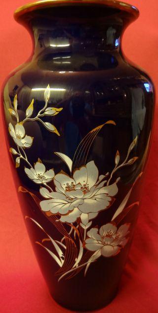 Porcellanvase Bavaria Royal - Cobald.  Handarbeit Mit Blumenmotiv.  Höhe 28cm. Bild