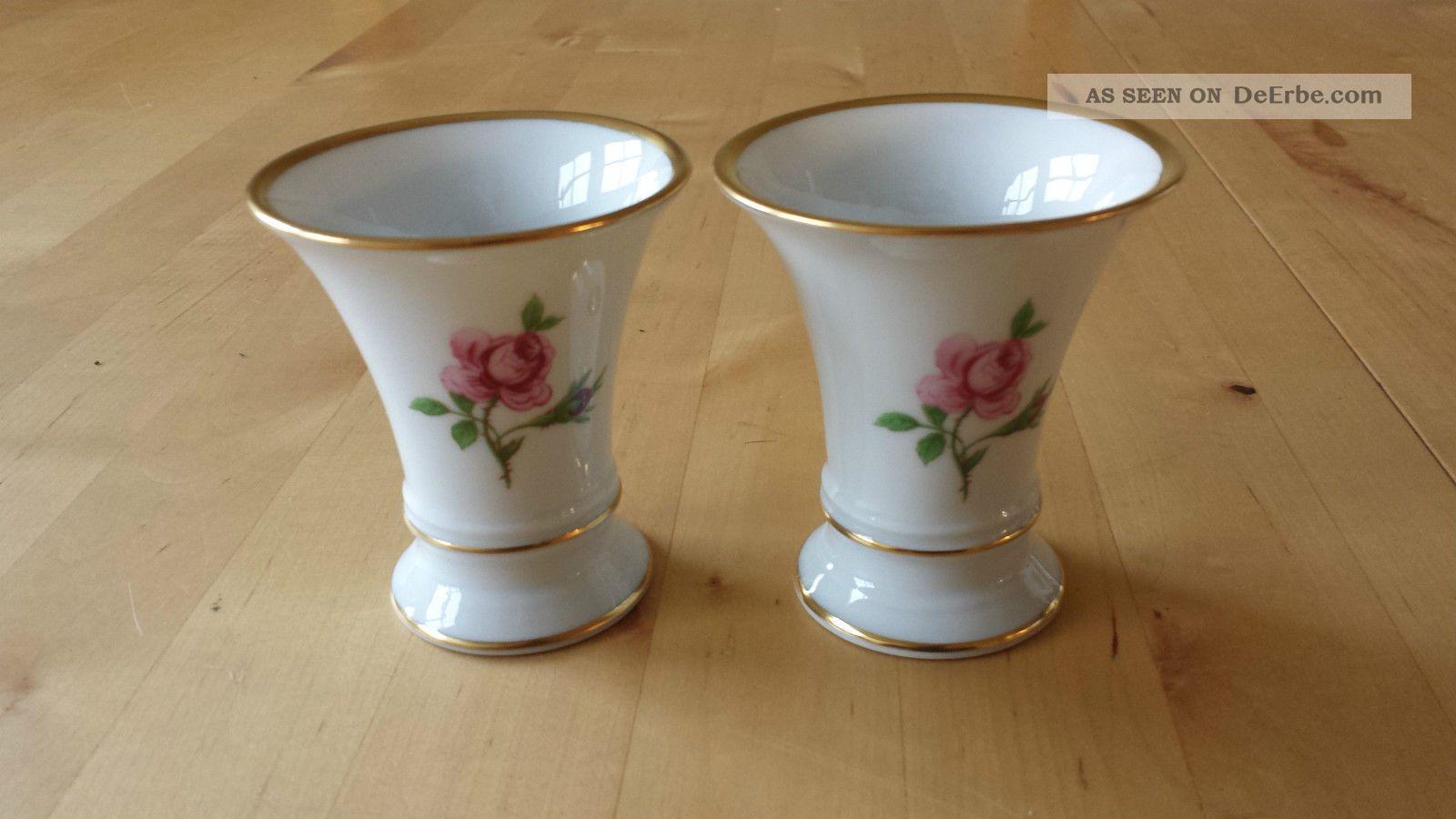Fürstenberg Trichtervase 02274 - Rote Rose 2 Stück Miniaturvasen Nach Marke & Herkunft Bild