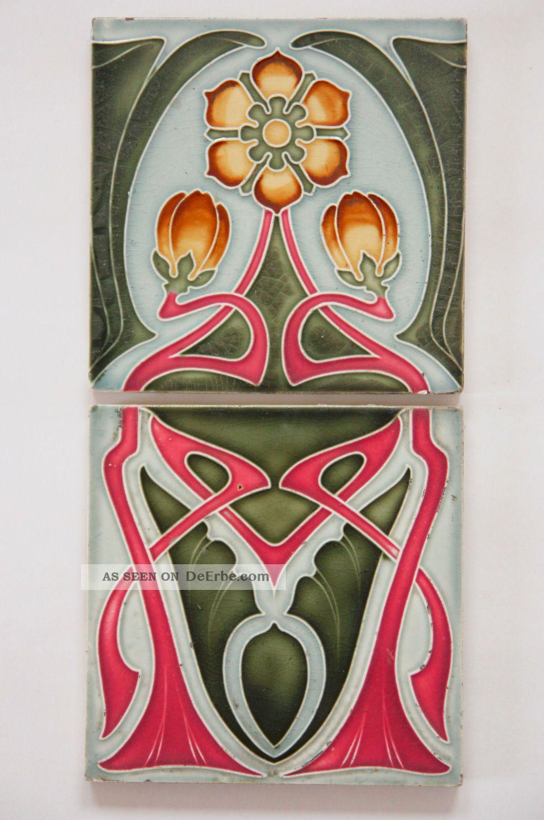 Kachel fliese  Paar Jugendstil Fliese Kachel, Art Nouveau Tile, Tegel Offstein ...
