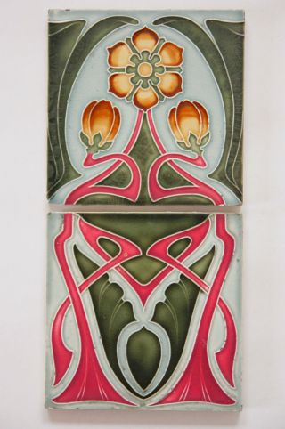 Paar Jugendstil Fliese Kachel,  Art Nouveau Tile,  Tegel Offstein,  Blumen Ornament Bild