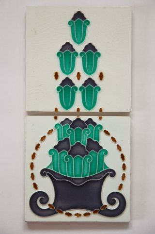 Paar Jugendstil Fliese Kachel,  Art Nouveau Tile,  Tegel,  Blumen Übertopf Füllhorn Bild