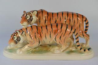 Porzellanfigur Tigers Hertwig & Co Figurine Figura Porcelana Porcelain Figurine Bild