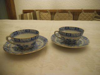 2x Alte Mokkatassen & Unterteller,  China - Blau,  Ohne Schaden Bild