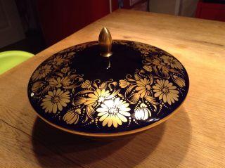 C.  M.  Hutschenreuther Prunkschale Bonboniere Deckelschale Kobalt Blau Golddekor Bild
